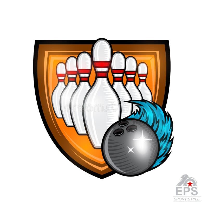 De kegels voor kegelen en de bal met blauwe wind slepen in centrum van schild Sportembleem voor om het even welk team of kampioen stock illustratie