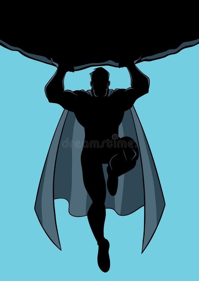 De Keisilhouet van de Superheroholding royalty-vrije illustratie