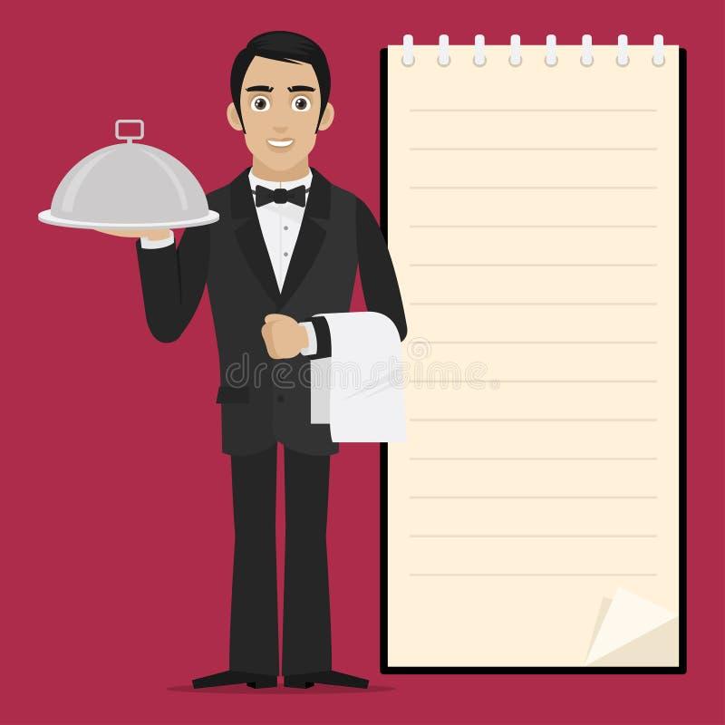 De kelner houdt dienblad in hand royalty-vrije illustratie