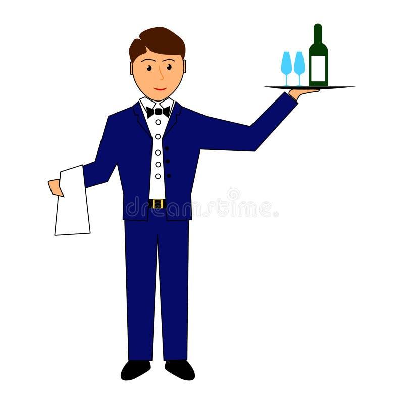 De kelner houdt dienblad met wijn en glazen vector illustratie