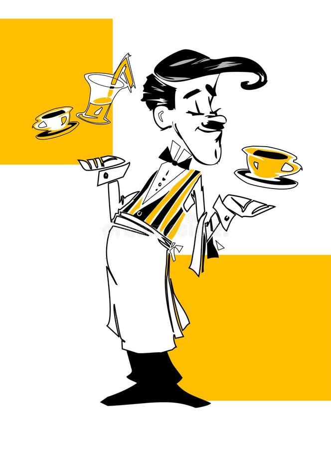 De kelner van de REEKS van de BAAN stock illustratie