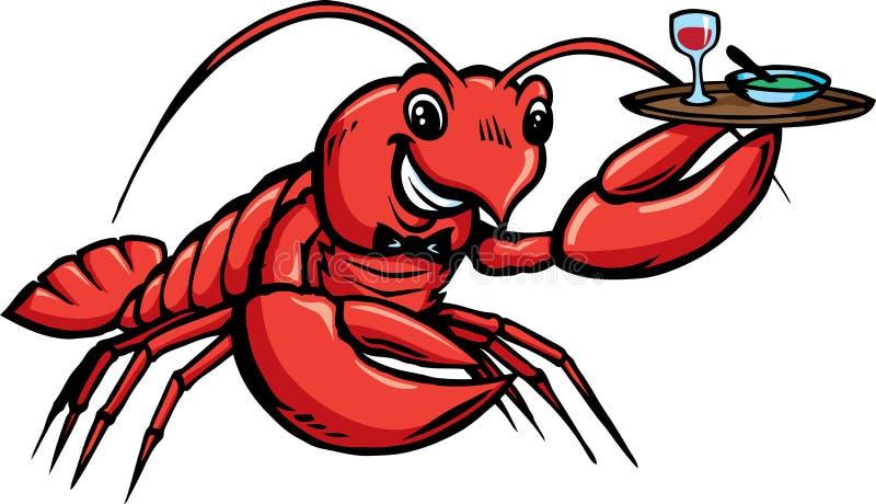De Kelner van de zeekreeft stock illustratie