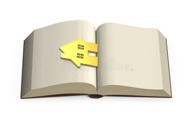 De kennis brengt rijkdomconcept, gouden huis bij het openen van boek, 3 vector illustratie