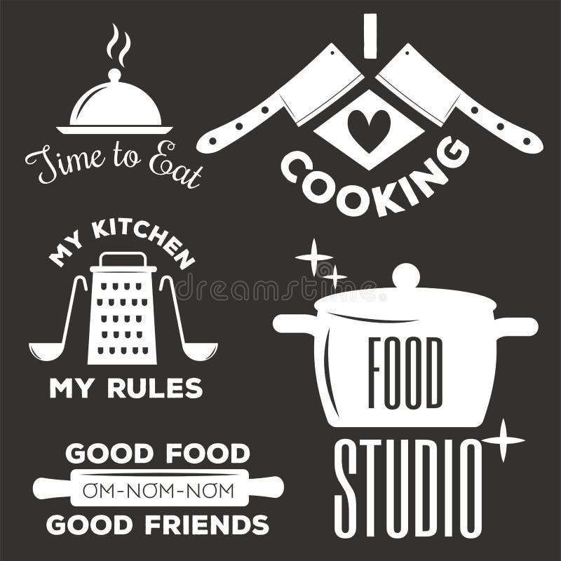 De kentekens van de bakkerijwinkel en het koken etiketteren ontwerp klassieke keukenelementen geplaatst vectorillustratie royalty-vrije illustratie
