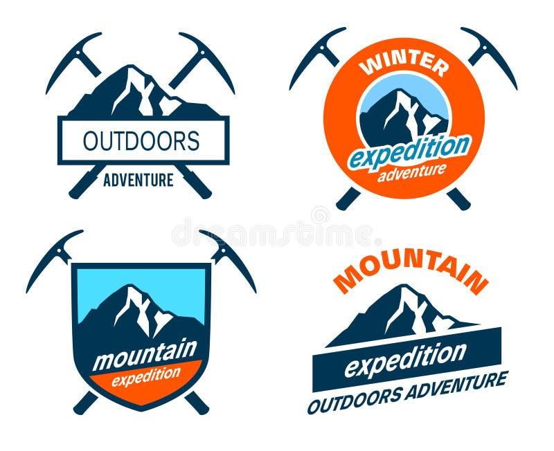 De Kentekens van de bergexpeditie - Pictogrammen stock illustratie