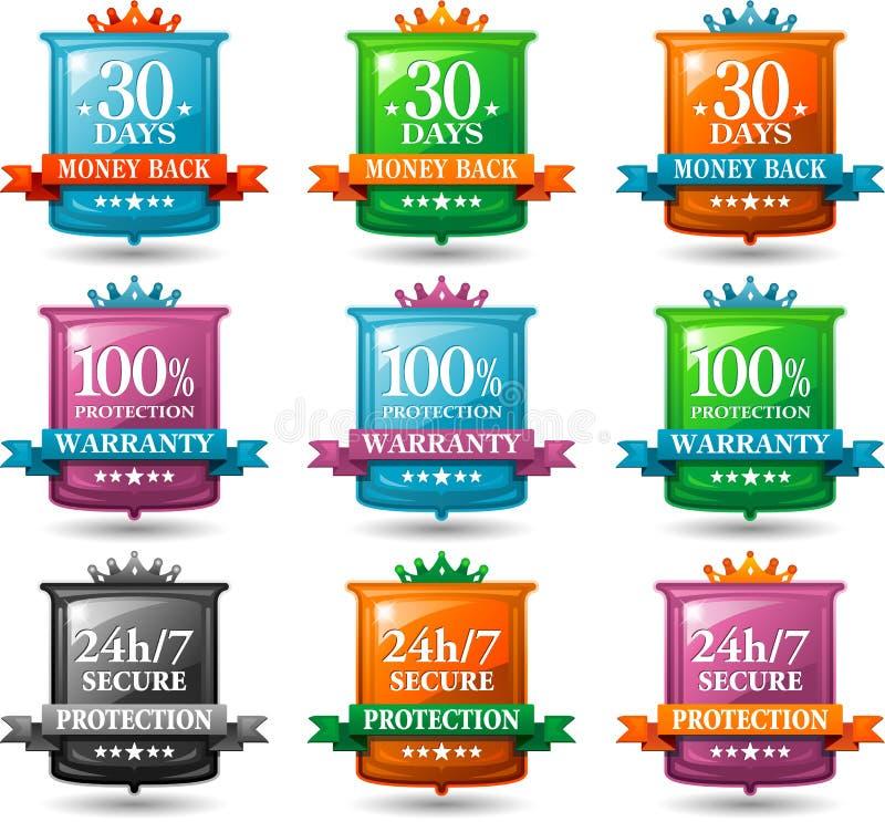 De kentekens van de de tevredenheidswaarborg van het Web royalty-vrije illustratie
