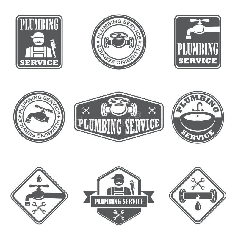 De kentekens van de loodgieterswerkdienst stock illustratie