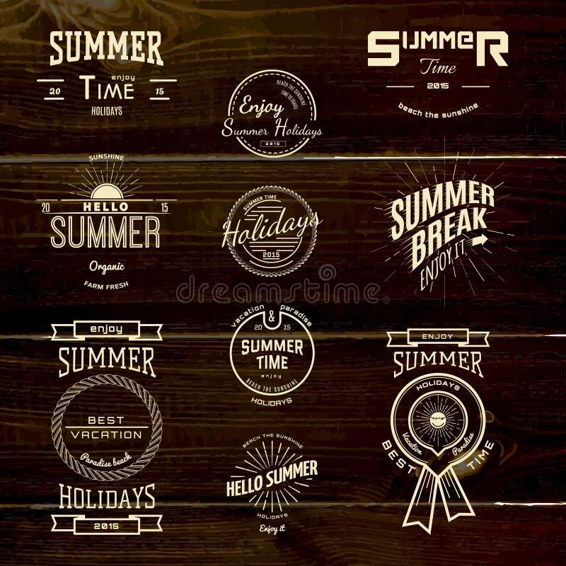 De kentekensemblemen en etiketten van de de zomervakantie voor om het even welk gebruik royalty-vrije illustratie