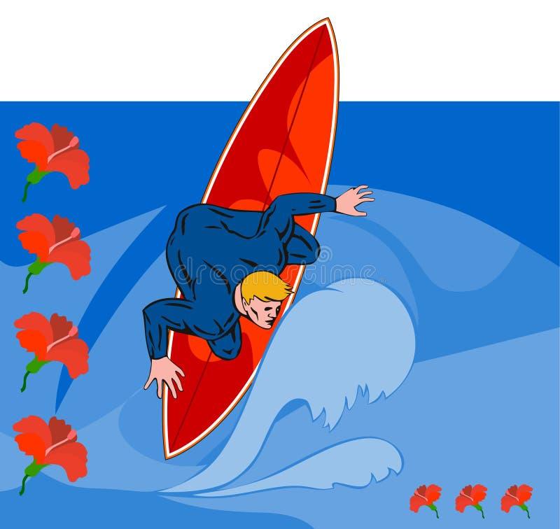 De kerel berijdende golf van Surfer stock illustratie