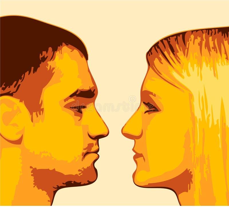 De kerel en het meisje vector illustratie