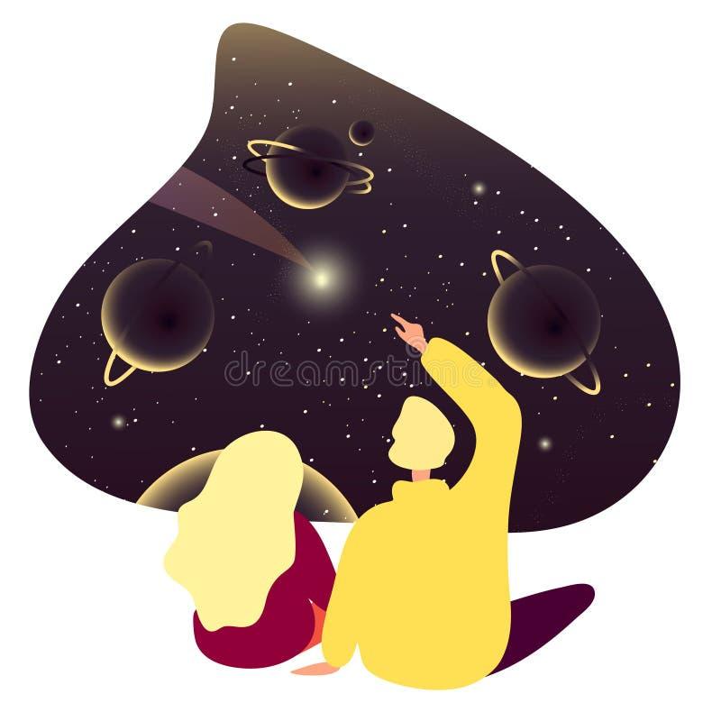 De kerel en het meisje zitten naast en overwegen de kosmos, melkweg Paar die in liefde over ruimte dromen vector illustratie