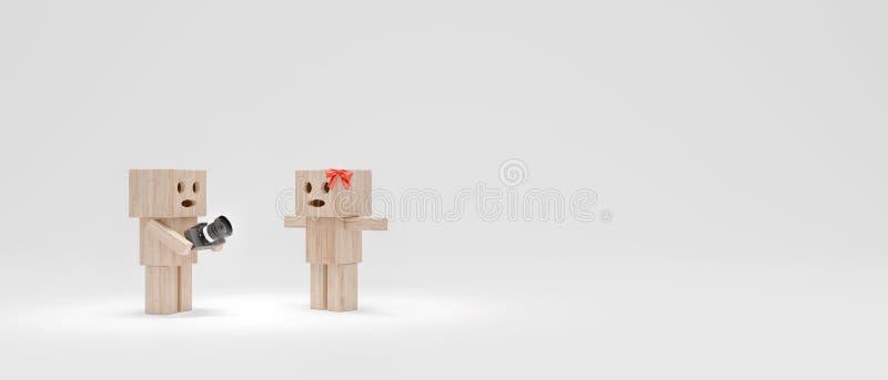 De kerel fotografeert het meisje, geven de grappige houten 3d karakters terug vector illustratie