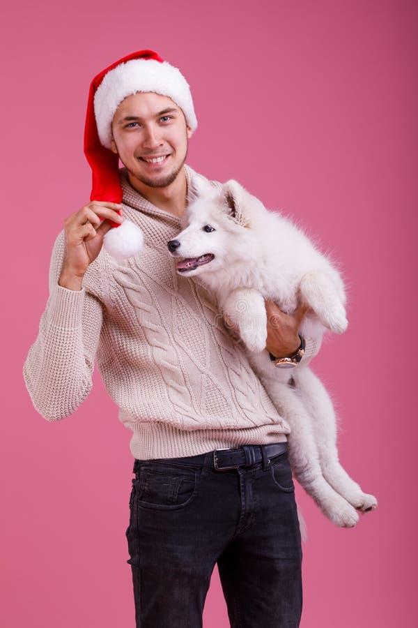 De kerel houdt a één hand en in andere een bal van een hoed op een roze achtergrond samoyed stock foto's