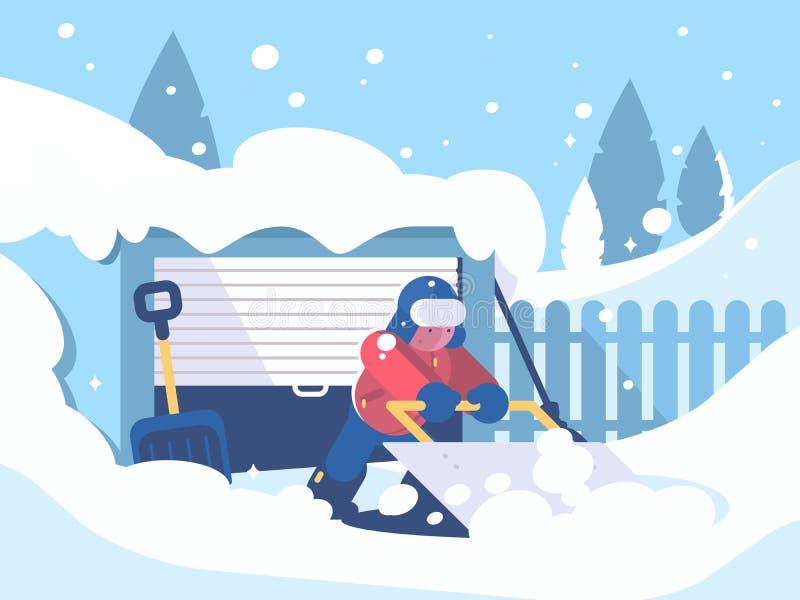 De kerel maakt sneeuw na sneeuwval schoon vector illustratie