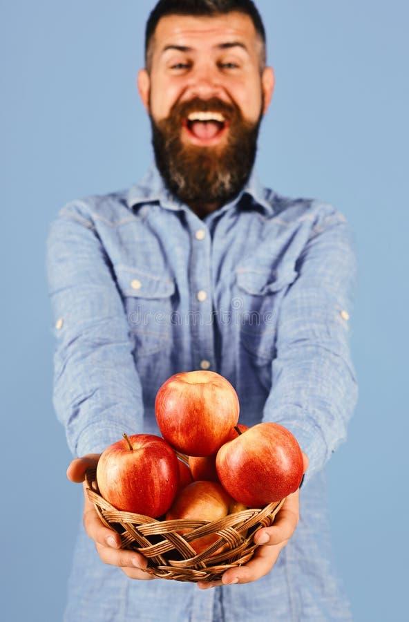 De kerel stelt inlands van de oogst het Tuinieren en daling gewassenconcept voor Mens met baard royalty-vrije stock afbeeldingen