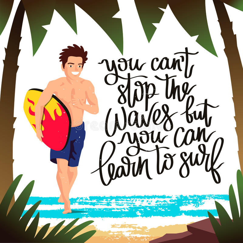 De kerel - surfer die met een surfplank lopen royalty-vrije illustratie