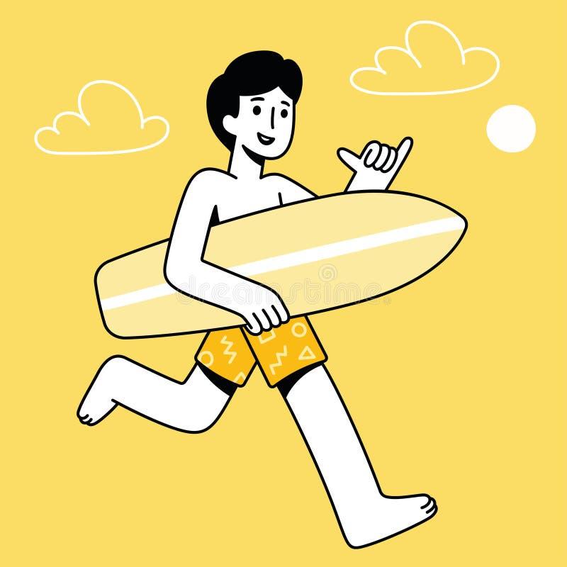 De kerel van de beeldverhaalsurfer stock illustratie