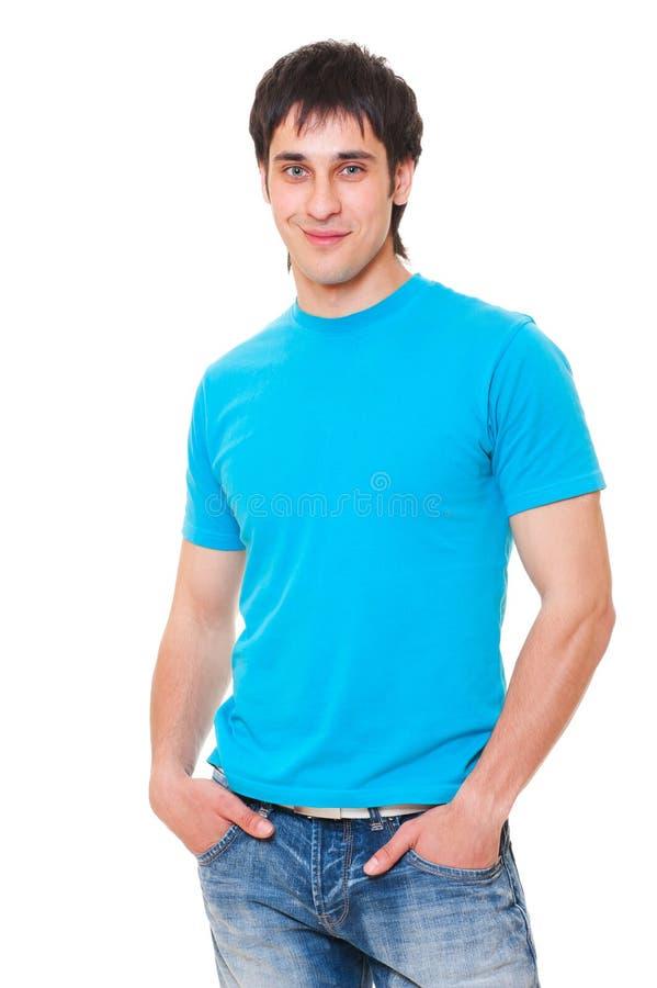 De kerel van Smiley in blauwe t-shirt stock fotografie