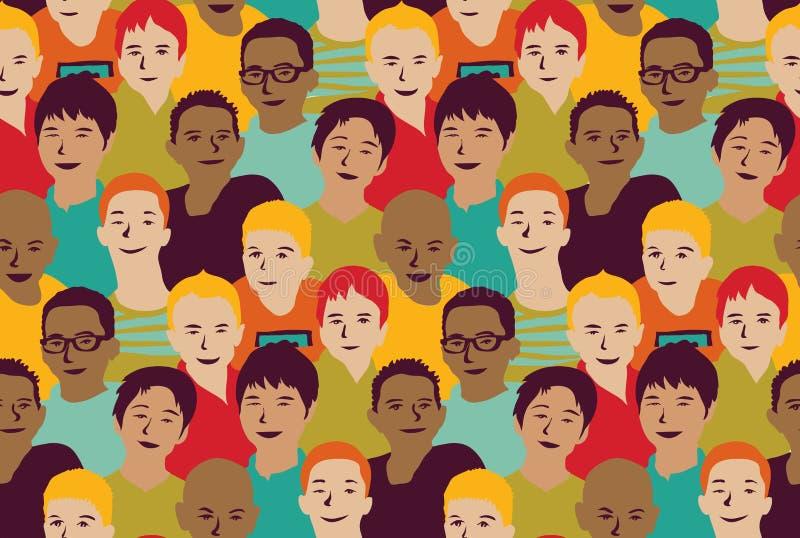 De kerelsgroep van jongensjonge geitjes en menigte naadloos patroon stock illustratie