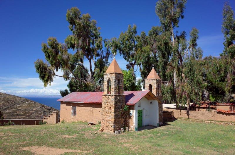 De kerk bij de Yumani-gemeenschap op Isla Del Sol op Meer Titicaca stock afbeelding