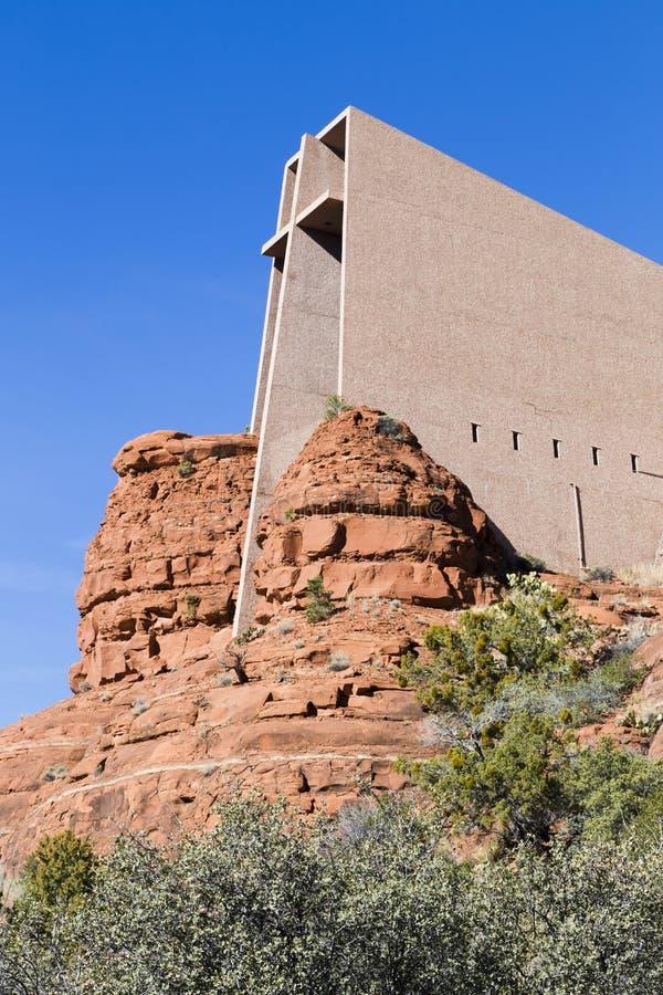 De kerk bouwde de Rode Rotsen in stock fotografie