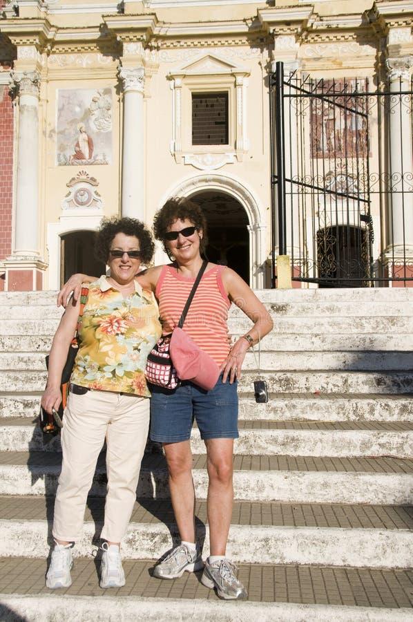 De Kerk Leon Nicaragua van Gr Calvario van toeristen stock afbeeldingen