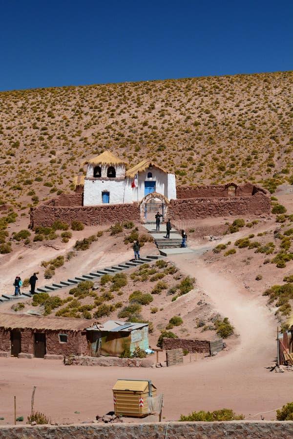 De kerk Machucadorp San Pedro de Atacama Antofagastagebied chili royalty-vrije stock afbeelding