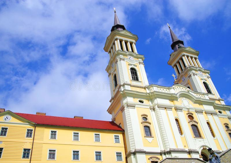 De kerk Maria Radna, ter ere van Heilige Maagdelijke Mary, Radna, Arad wordt gezegend die stock foto