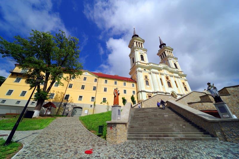 De kerk Maria Radna, ter ere van Heilige Maagdelijke Mary, Radna, Arad wordt gezegend die royalty-vrije stock afbeelding
