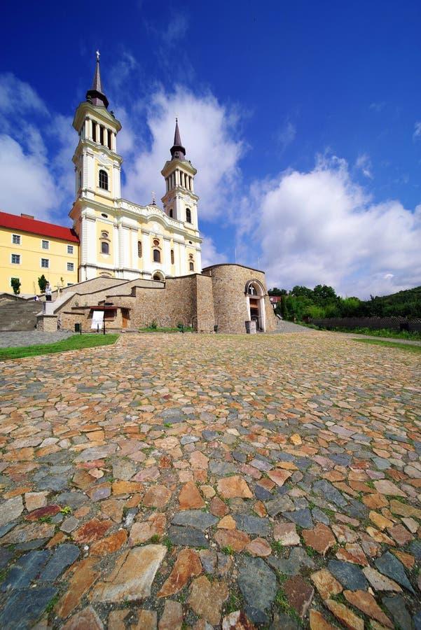 De kerk Maria Radna, ter ere van Heilige Maagdelijke Mary, Radna, Arad wordt gezegend die royalty-vrije stock afbeeldingen