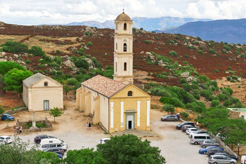 De Kerk van de Aankondiging in Sant Antonino, Corsica stock afbeelding
