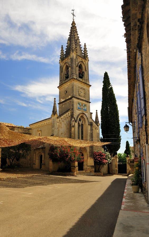 De kerk van Aigueze, Ardeche gebied, Frankrijk royalty-vrije stock foto