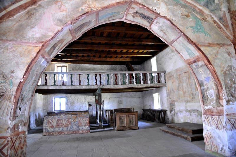 De kerk van alle-heiligen, Ludrová - balkonbinnenland stock afbeeldingen