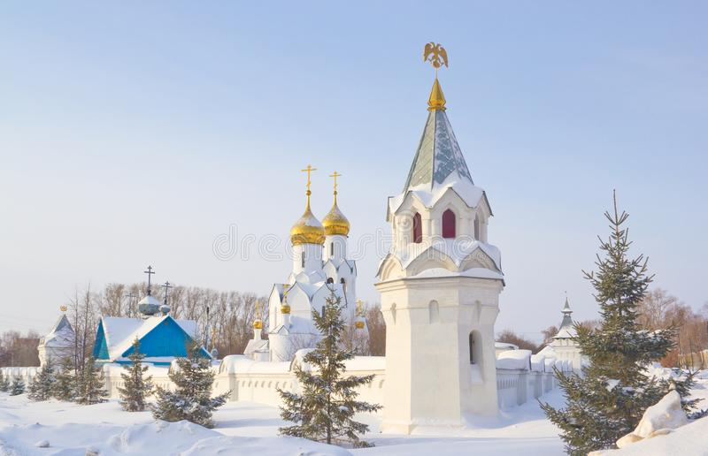De kerk van Archistrategosmikhail in Novosibirsk stock fotografie
