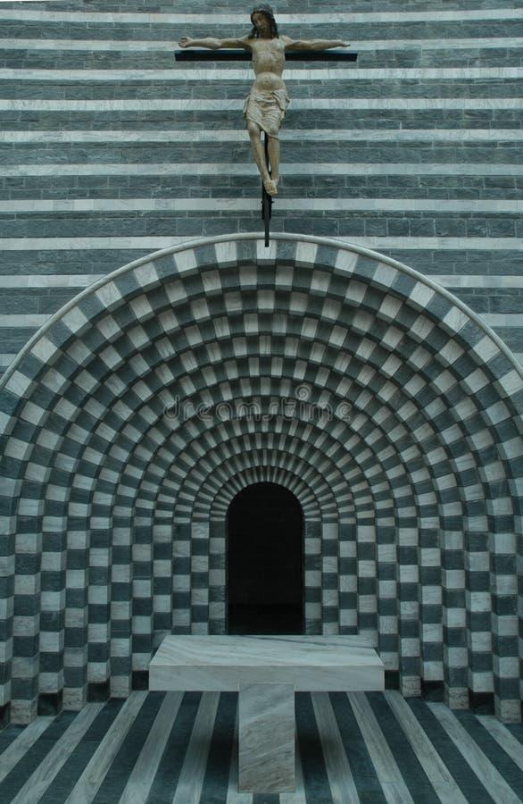 De kerk van architect Mario Botta in Mogno stock fotografie