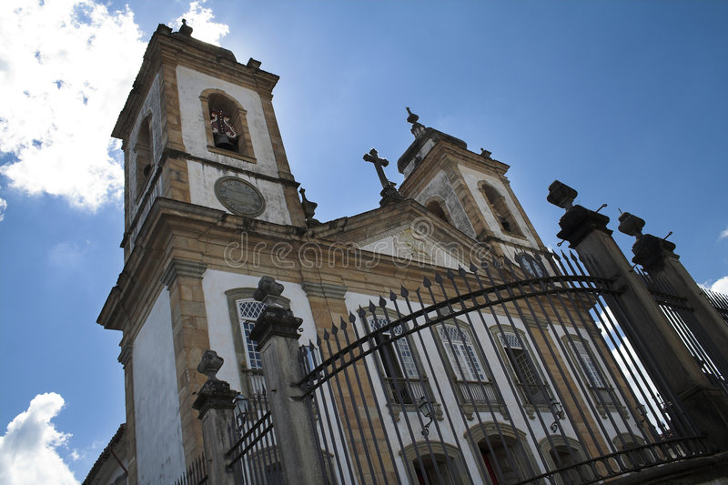 De Kerk van Barroque in Sao Joao del Rey stock foto