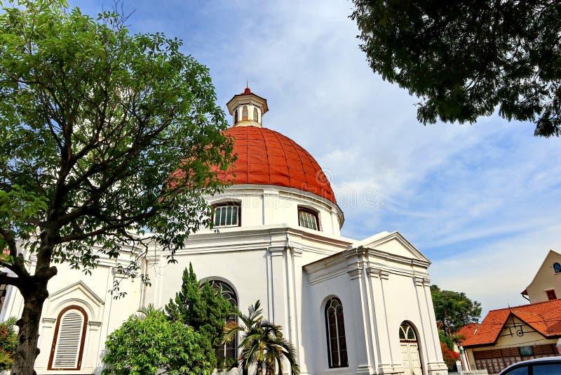 De Kerk van Blenduksemarang is een kerk die in 1753 werd gebouwd en is ??n van de ori?ntatiepunten in de oude stad royalty-vrije stock foto
