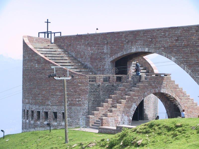 De Kerk van Botta op Ti Zwitserland van Monte Tamaro royalty-vrije stock afbeelding