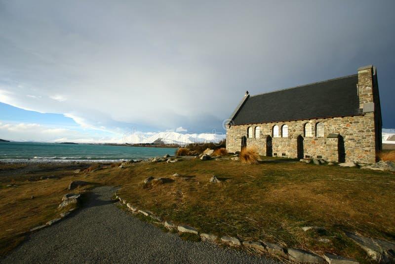 De kerk van de Goede Herder onder zonsondergang royalty-vrije stock fotografie