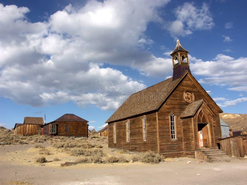 De kerk van de spookstad royalty-vrije stock afbeelding