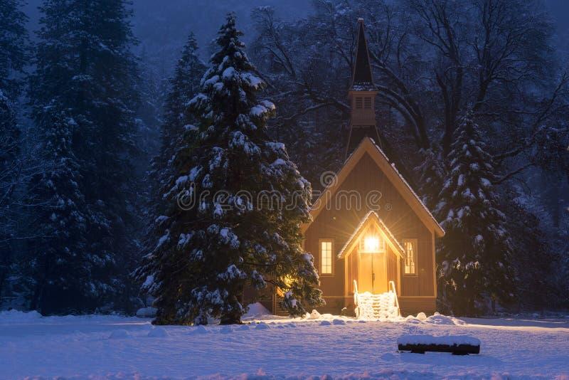 De kerk van de Yosemitewinter stock foto