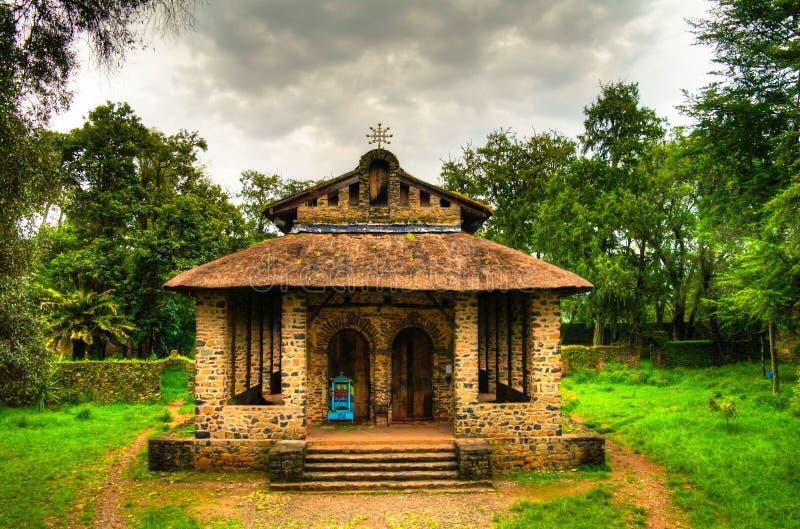 De Kerk van Debrebirhan Selassie in Gondar Ethiopië stock afbeelding