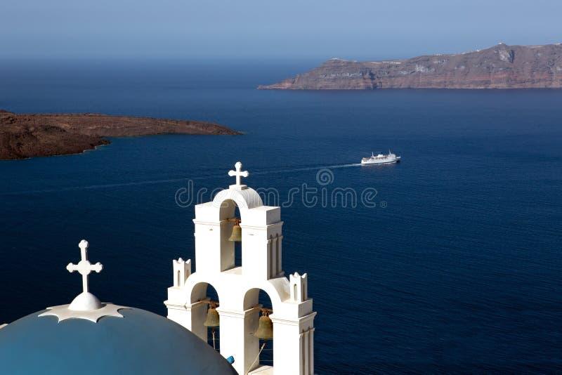 De kerk van Firostefani, Santorini, Griekenland. stock fotografie