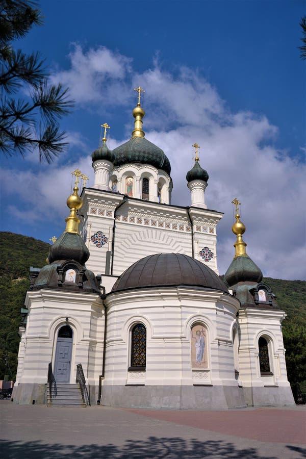 De kerk van Foros in de Krim De herfstmiddag met een mooie hemel stock fotografie