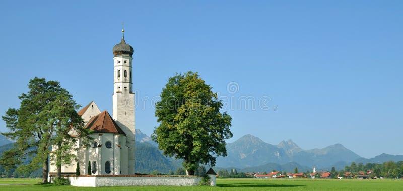 De Kerk van heilige Coloman, Fuessen, Allgau, Beieren, Duitsland stock afbeeldingen