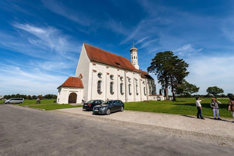 De Kerk van heilige Coloman - Schwangau Allgau Beieren Duitsland stock afbeelding