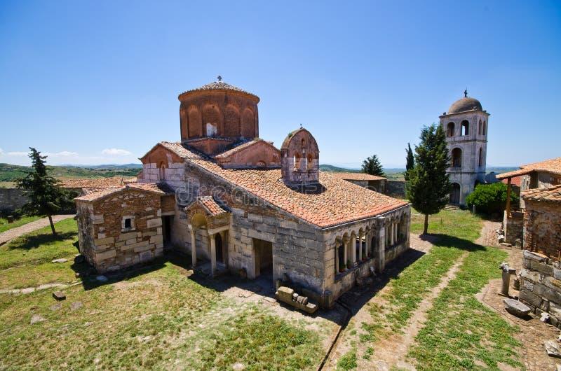 De kerk van heilige Mary in Apollonia, Albanië stock foto
