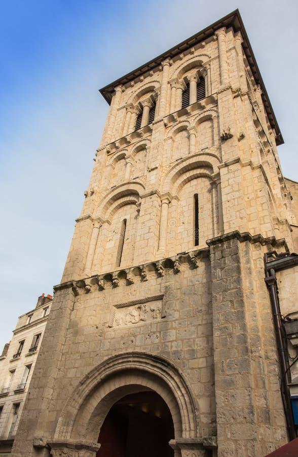 De Kerk van heilige-Porchaire in Poitiers stock afbeelding