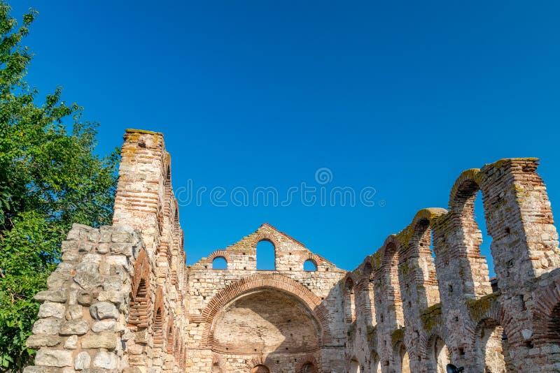 De Kerk van Heilige Sofia of Oud Bisdom in de oude stad van Nessebar Nesebar, Nesebr is een Unesco-Plaats van de Werelderfenis Ru royalty-vrije stock fotografie