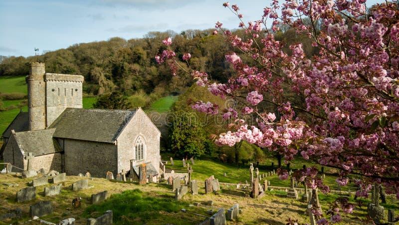 De Kerk van heilige Winifred ` s, Branscombe, Devon, het UK royalty-vrije stock afbeeldingen